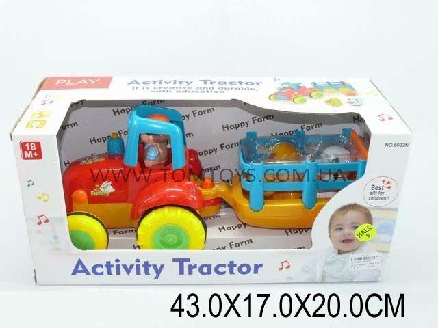 Музыкальный трактор с прицепом и набором животных 6032N