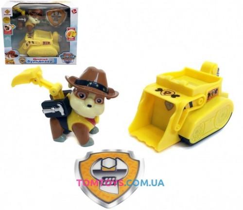 Щенячий патруль Крепыш строитель с рюкзачком и значком на бульдозере PAW Patrol JD-909D