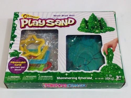 Кинетический песок Play Sand зелёный металик с формочками 6686C