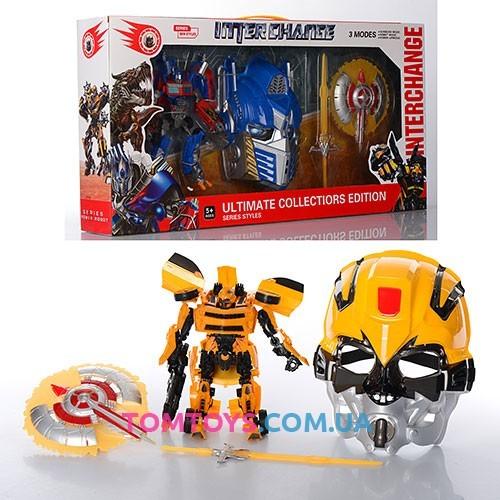 Игровой набор трансформеров автоботов Оптимус Прайм, Бамблби и маска 4118