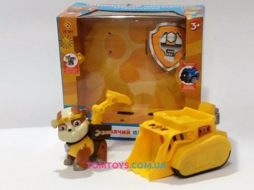 Щенячий патруль Крепыш каратист с рюкзачком и значком на бульдозере Pup Fu CH-005D