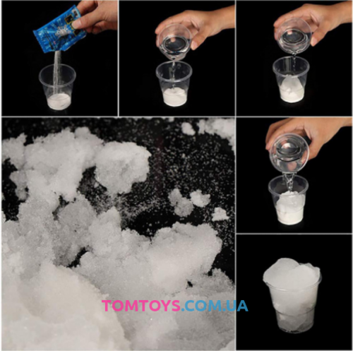 Искусственный снег, растущий в воде для декора и для украшения слайма 10 грамм