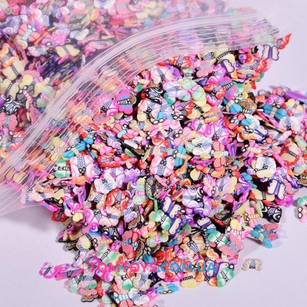 Конфетти фимо Бабочки посыпка для слаймов 400 шт