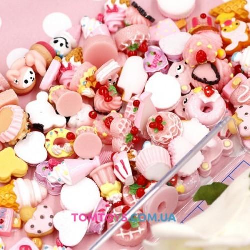 Шармики для украшения слайма бело-розовые Пирожиные