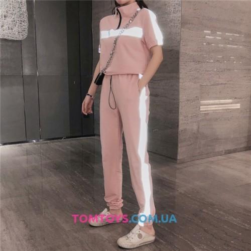Женский розовый костюм Рефлективный светоотражающий -ХИТ сезона.