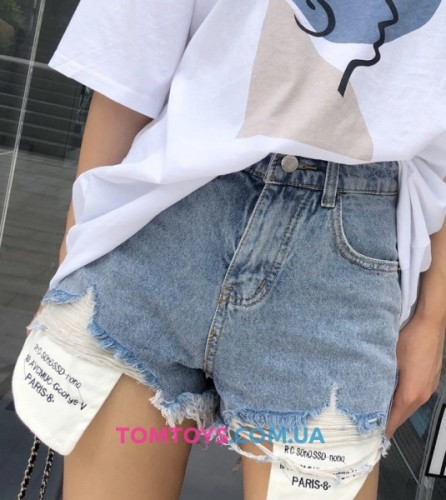 Джинсовые шорты рваные с потертостями  синие