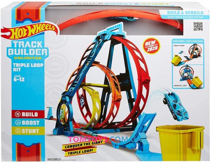 Трек Hot Wheels Track builder Тройная петля GLC96
