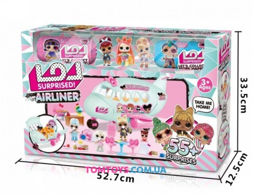 Самолет с куклами и мебелью + 2 капсулы 55 предметов K 5632