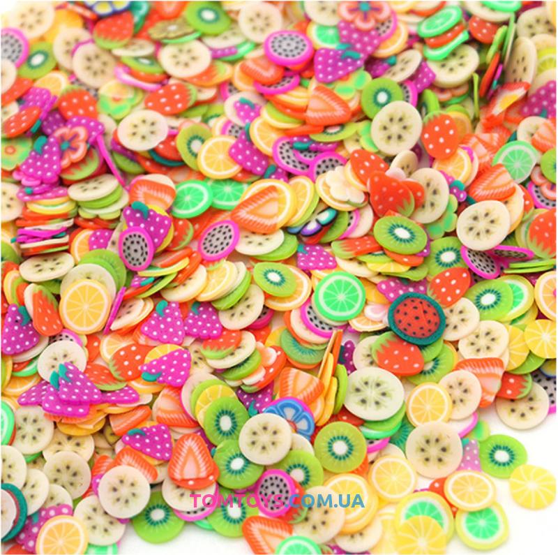 Конфетти фимо фрукты посыпка для слаймов 400 шт