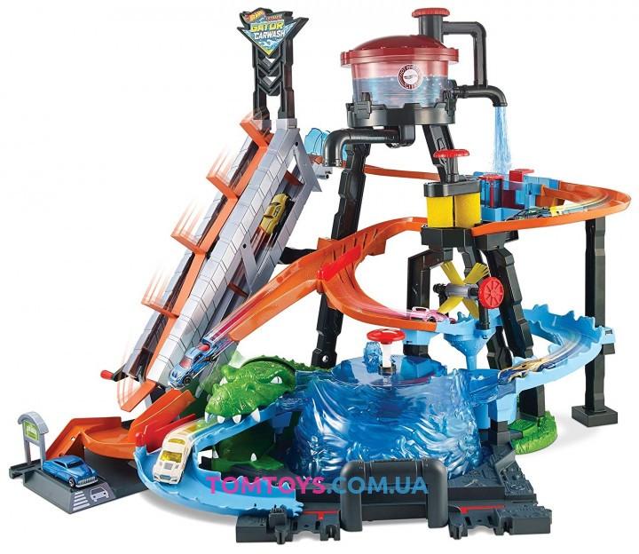 Трек Hot Wheels City Ultimate Gator Car Wash Водонапорная башня Взрыв цветов FTB67